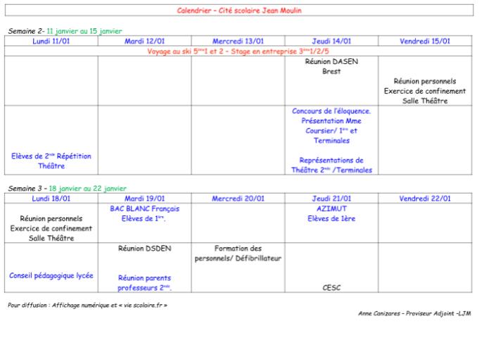 calendriers semaines 2 et 3