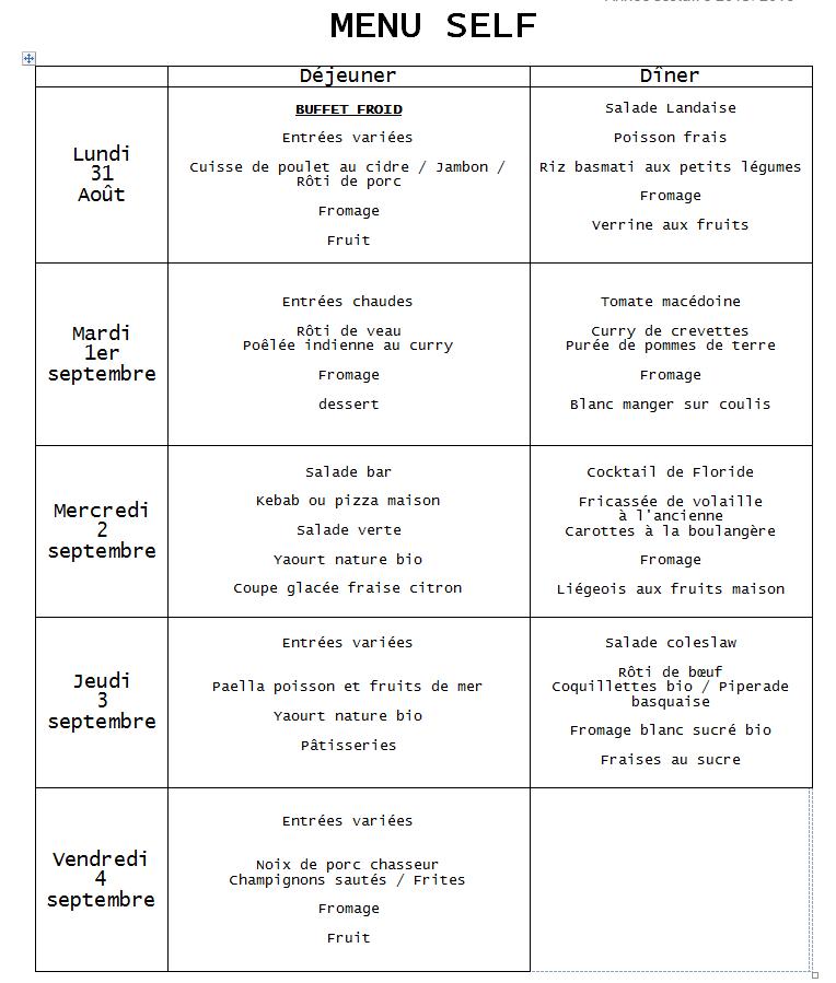 menu du 1er septembre au 4 septembre