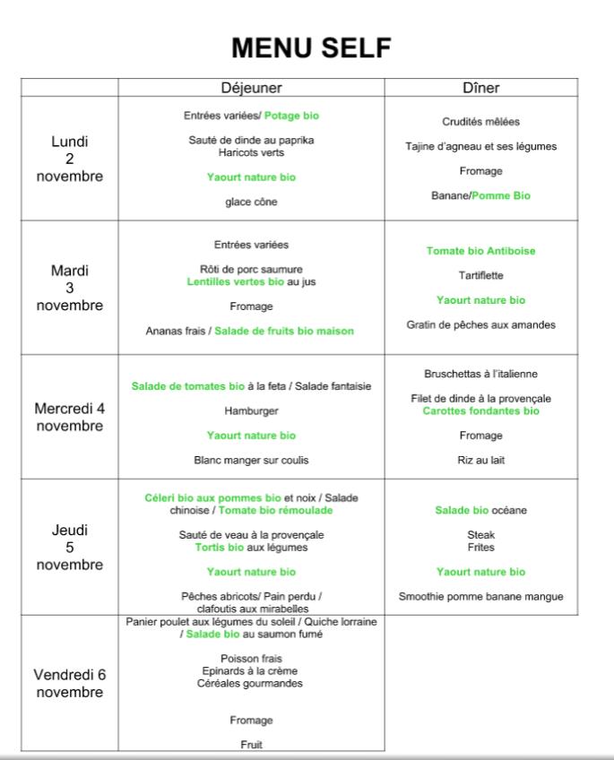 menus du 2 au 6 novembre