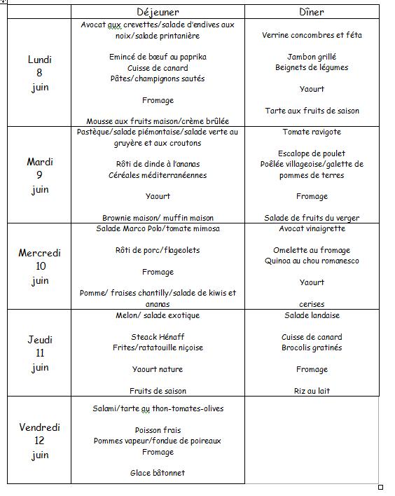 menu du 8 au 12 juin
