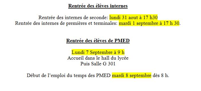 rentrée 2015 pmed