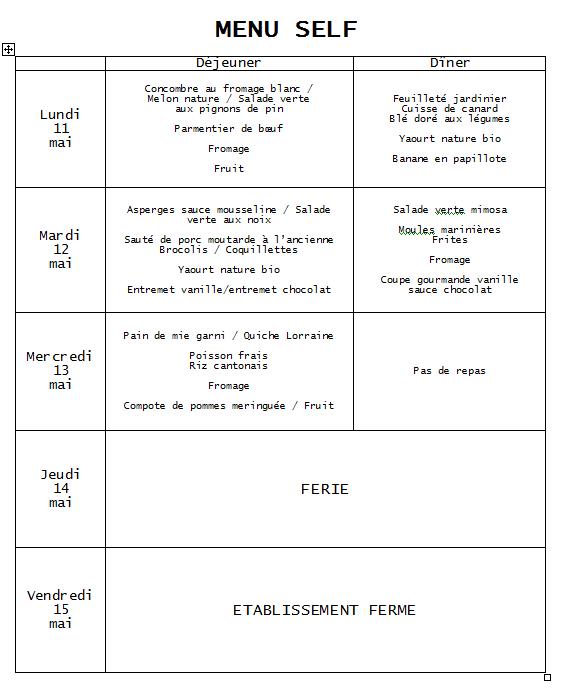 menu 11 au 13 mai