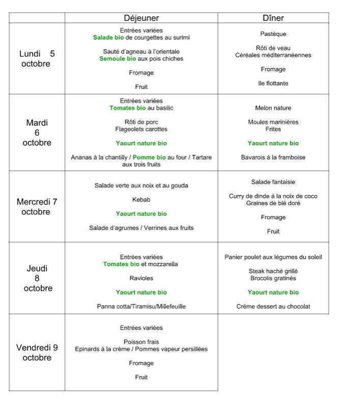 menu du 5 au 9 octobre