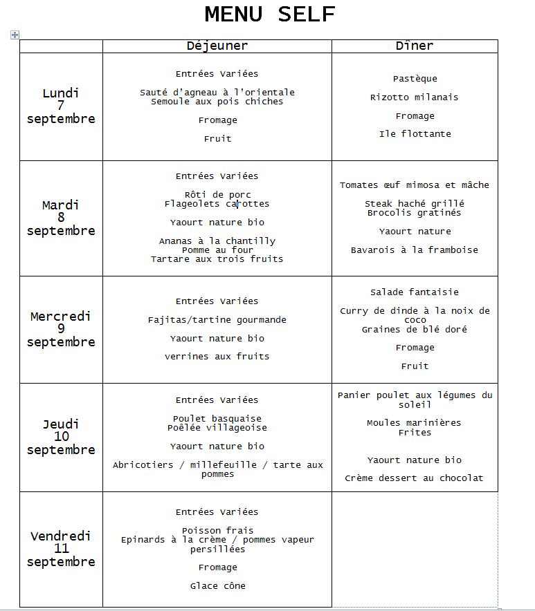 menu du 7 septembre au 11 septembre