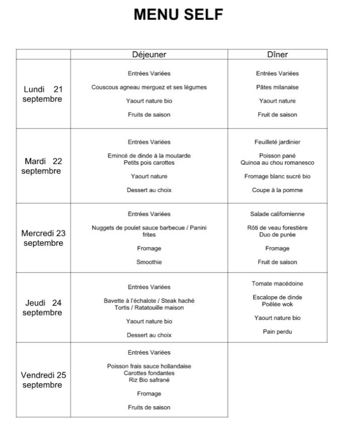 menu du 21 au 25 septembre
