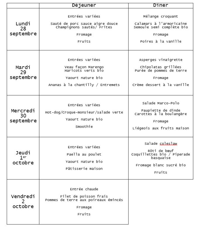 menu du 28 septembre au 2 octobre