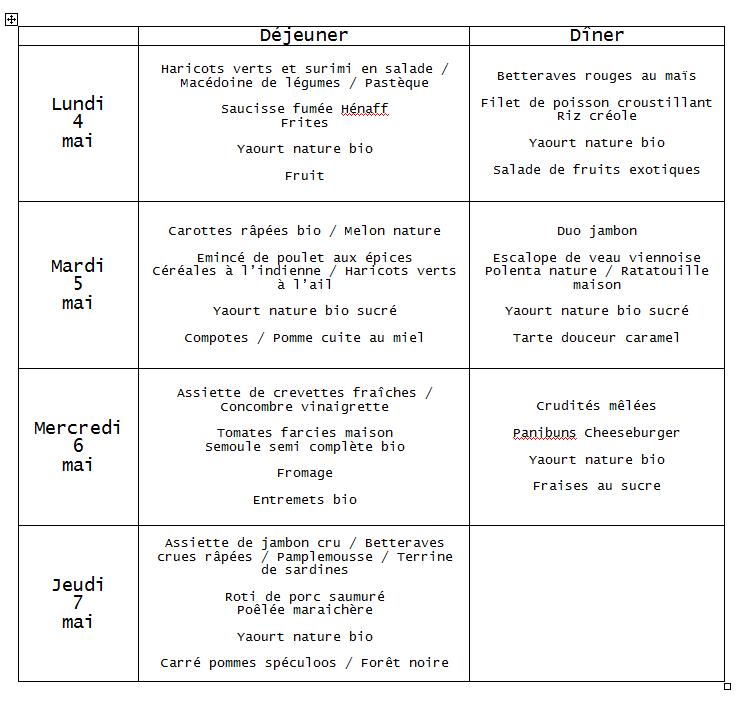 menu 4 mai
