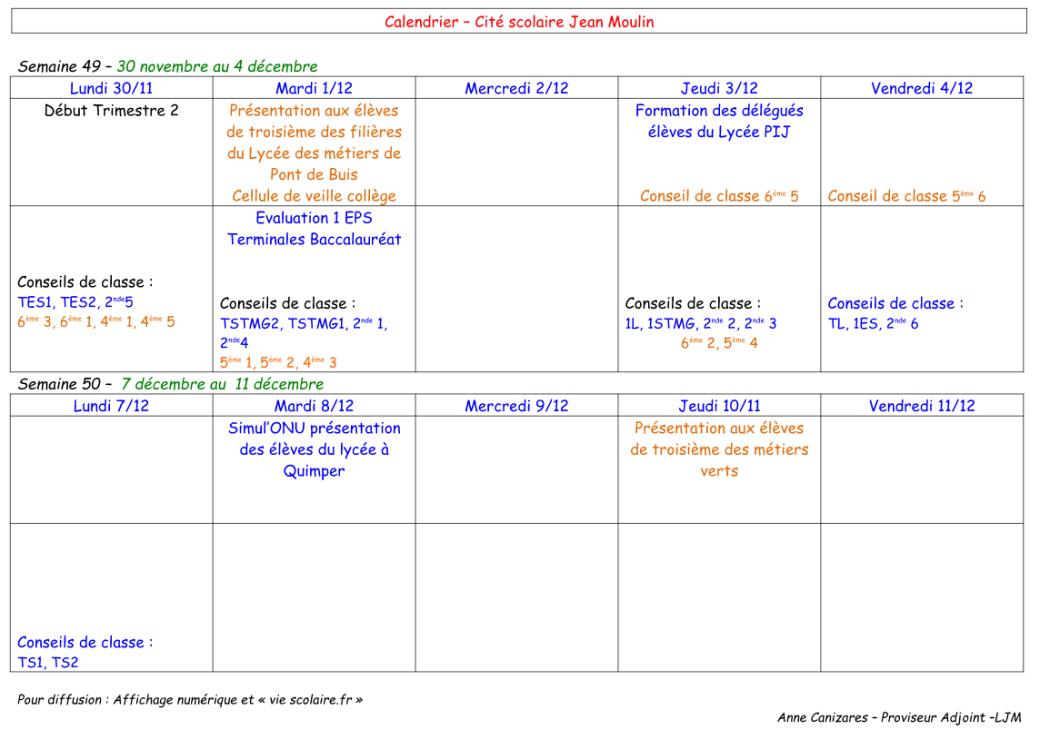 calendriers semaines 49 et 50