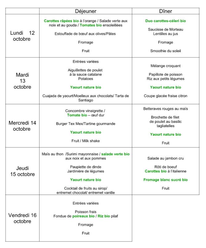 menu du 12 au 16 octobre