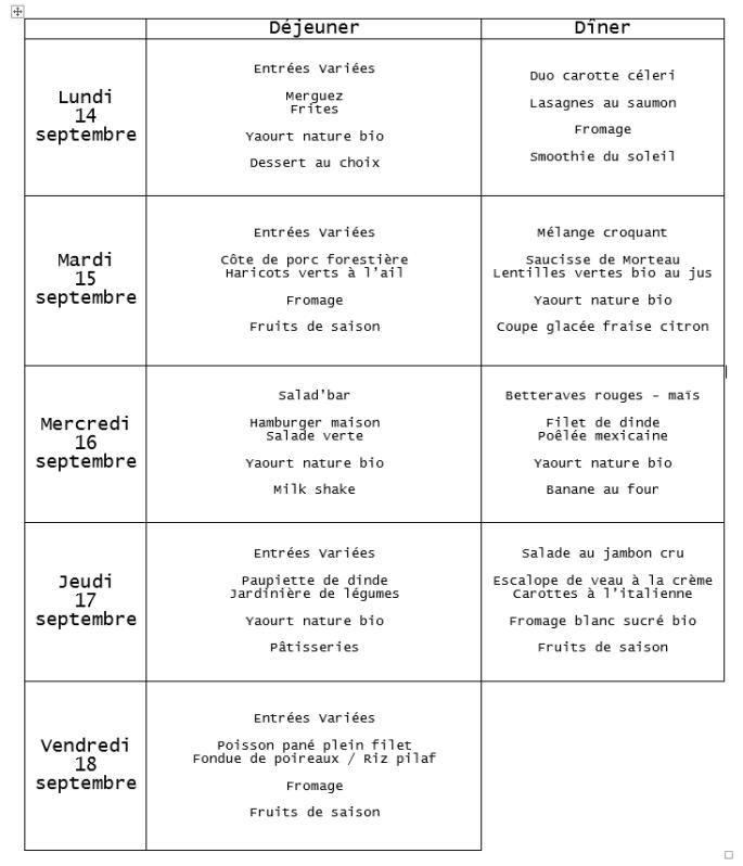 menu du 14 au 18 septembre