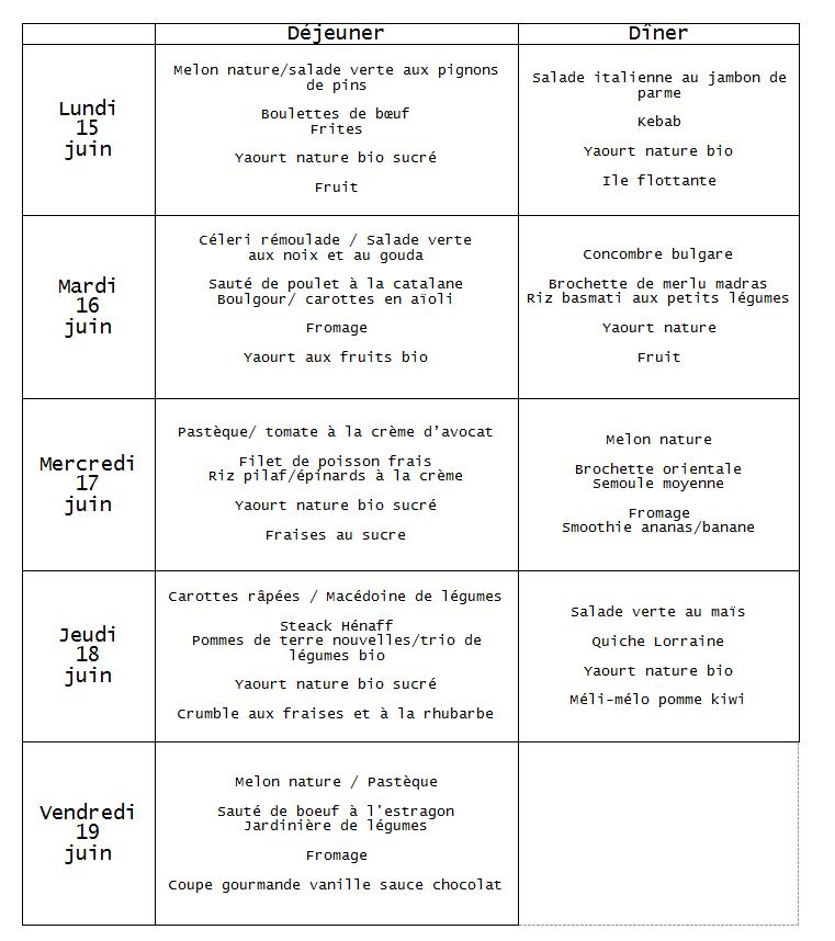menu  du 15 au 19 juin